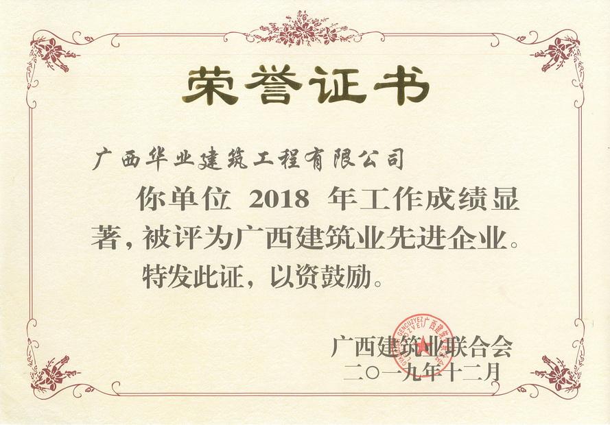 2019.12 2018年度广西建筑业先进企业
