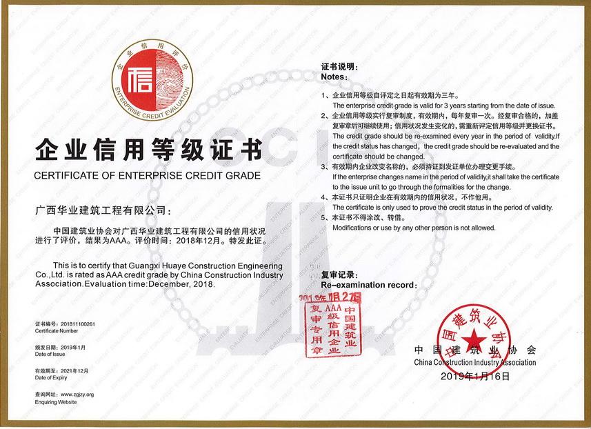 中国建筑业协会AAA企业信用等级证书